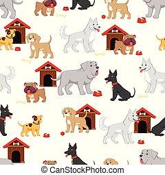Seamless pattern with cute cartoon dog