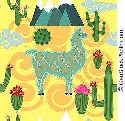 Illustration of seamless pattern with cute cartoon llama...