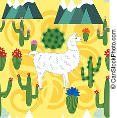 Illustration of seamless pattern with cute cartoon llama...