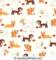 Seamless pattern with different kind of dogs