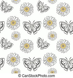 Illustration of seamless pattern with doodle butterflyes and daisy