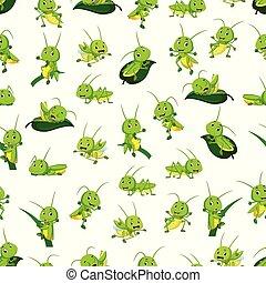 Seamless pattern with grasshopper cartoon