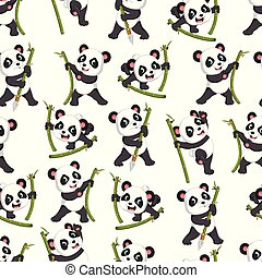 Seamless pattern with panda playing with the green bamboo