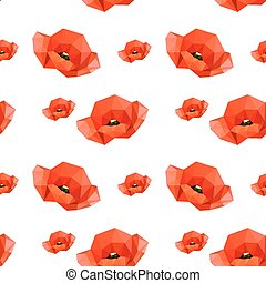 Illustration of seamless pattern with red poppies