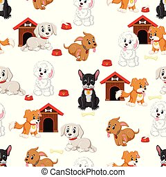 Seamless pattern with various cute dogs