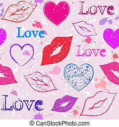 abstract grunge hearts and lips