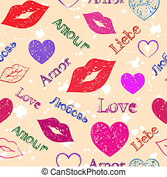 Illustration of seamless with abstract grunge hearts and lips