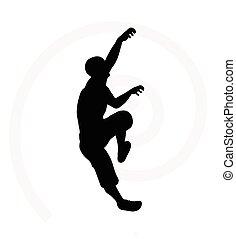 illustration of senior climber man silhouette isolated on...