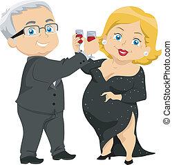 Senior Couple Having a Toast - Illustration of Senior Couple...