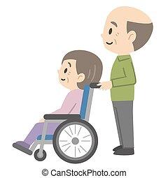 Illustration of senior couple in wheelchair