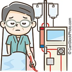 Illustration of senior man undergoing dialysis