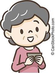 Illustration of senior woman eating