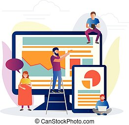Illustration of SEO concept in flat style.
