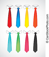 illustration of serious shirt with different colored ties, vector illustration