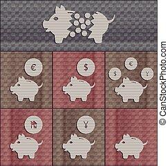 set 7 icons piggy bank