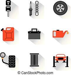 car service repair flat icons