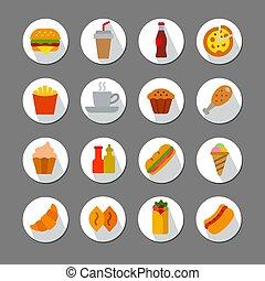 fast food flat icons