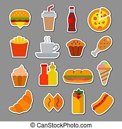 fast food flat stickers