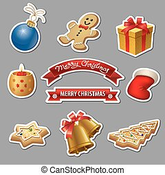 hristmas icons and stickers