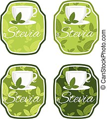 Illustration of set label  with cup with leaf stevia. vector