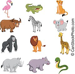 Set of african animals cartoon