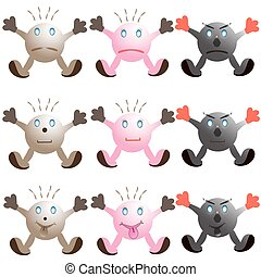 illustration of set of cartoon monster faces on white background.
