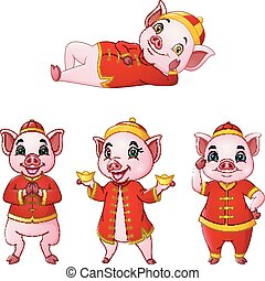 Set of Cartoon pig with traditional Chinese costume