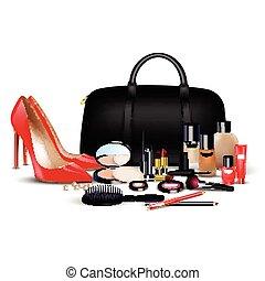 Set of cosmetics background