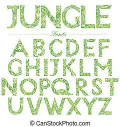 English font in Jungle style swirl
