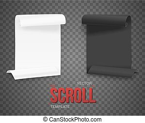 Set of Folded Black and White Paper Sheets Template. Realistic V