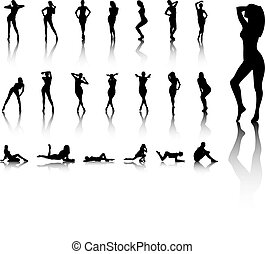 Illustration of Set of sexy women silhouettes - An...