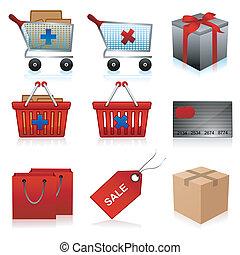 illustration of set of shopping icons on isolated background