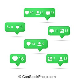 Set of Social Media Network Vector Icons. Include Like,...