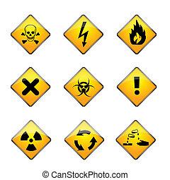 set of warning icons