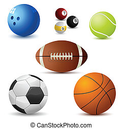sports ball - illustration of set on sports ball on white...
