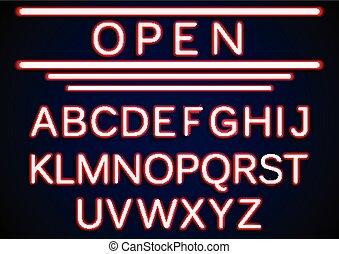 Set retro neon open signs