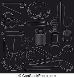 Illustration of set sewing supplies