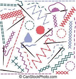 Illustration of sewing equipment