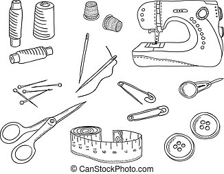 Illustration of sewing stuff and tools - Sewing stuff and...