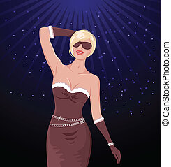 Illustration of sexy christmas dance girl on disco party