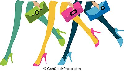 illustration of sexy feet of three girls with purses