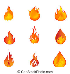shapes of fire - illustration of shapes of fire on white ...
