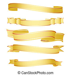 illustration of shapes of ribbon on white background