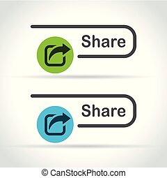share icons on white background