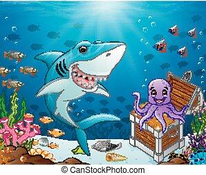 Illustration of shark under the sea