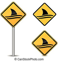 shark warning yellow signs