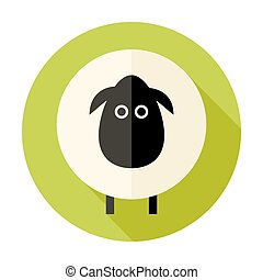 Sheep Flat Circle Icon over Green