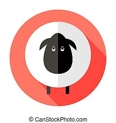 Sheep Flat Circle Icon over Red