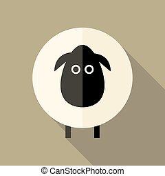 Sheep Flat Icon over Brown