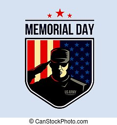 Illustration of Shield with Soldier saluting against USA Flag. Memorial Day.